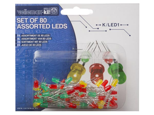 VELLEMAN PROJECTS K/LED1 SET LEDS - 80 st. - 2 GROOTTES - 3 KLEUREN