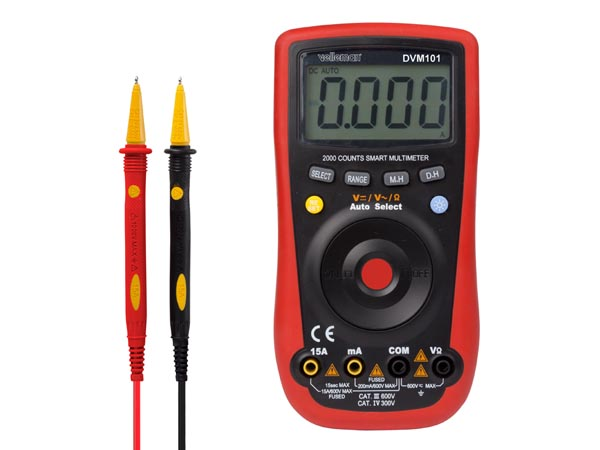 VELLEMAN DVM101 DIGITALE MULTIMETER - CAT. III 600 V / CAT. IV 300 V - 2000 COUNTS - AUTO SELECT -  AUTOMATISCH BEREIK