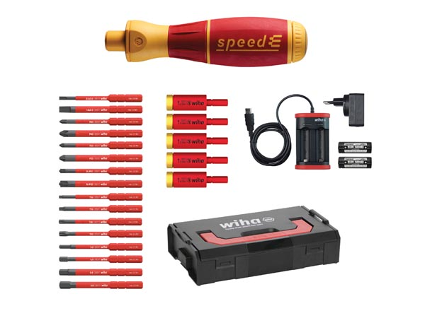 WIHA WH41913 WIHA - e-screwdriver, set 3, speedE® electric Mixed 25 pcs in L Boxx Mini with slimBits, easyTorque adapters, batteries and EU charger -  590T101