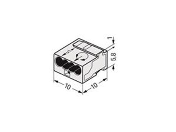 WAGO WG243304 MICRO JUNCTION AND DISTRIBUTION CONNECTORS 4-CONDUCTOR TERMINAL BLOCK, LIGHT GREY