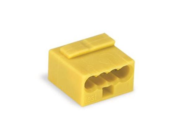 WAGO WG243504 MICRO PUSH-WIRE CONNECTOR FOR JUNCTION BOXES 4-CONDUCTOR TERMINAL BLOCK, YELLOW