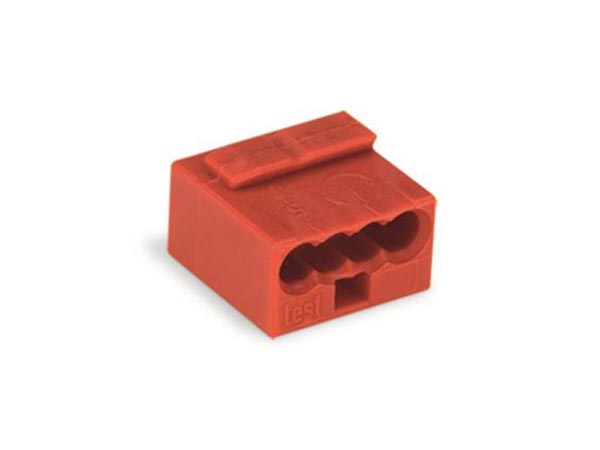 WAGO WG243804 MICRO PUSH-WIRE CONNECTOR FOR JUNCTION BOXES 4-CONDUCTOR TERMINAL BLOCK, RED