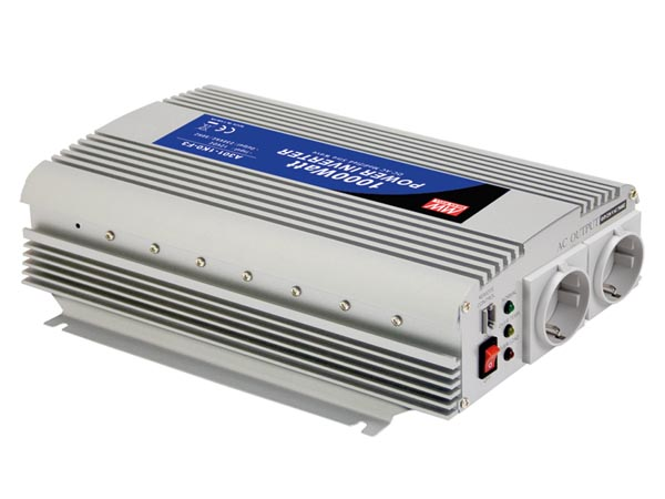 MEAN WELL A301-1K0-F3 MEAN WELL - DC-AC INVERTER MET GEMODIFICEERDE SINUSGOLF - 1000 W - DUITS STOPCONTACT