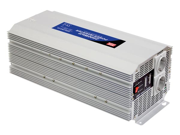 MEAN WELL A301-2K5-F3 MEAN WELL - DC-AC INVERTER MET GEMODIFICEERDE SINUSGOLF - 12 V - 2500 W - DUITS STOPCONTACT