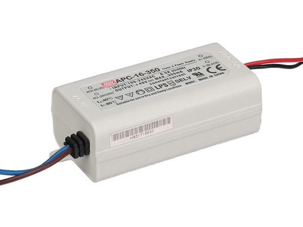 MEAN WELL APC-16-350 LED-DRIVER MET CONSTANTE STROOM - 1 UITGANG - 350 mA - 16 W