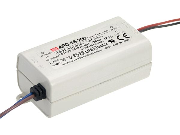 MEAN WELL APC-16-700 LED-DRIVER MET CONSTANTE STROOM - 1 UITGANG - 700 mA - 16 W