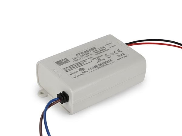 MEAN WELL APC-35-500 CONSTANT CURRENT LED DRIVER - SINGLE OUTPUT - 350 mA - 25 W