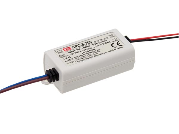 MEAN WELL APC-8-700 LED-DRIVER MET CONSTANTE STROOM - 1 UITGANG - 700 mA - 7.7 W
