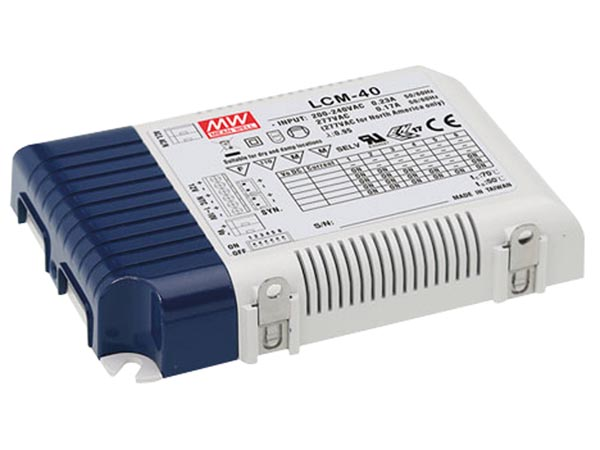 MEAN WELL LCM-40 DIMBARE LED-VOEDING - CONSTANTE STROOM - 40 W - INSTELBARE UITGANGSSTROOM MET PFC