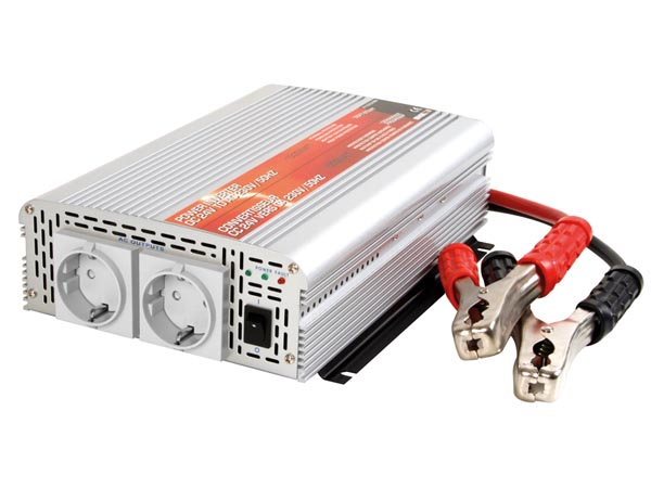 HQ-POWER PI1000MN INVERTER MET GEMODIFICEERDE SINUSGOLF 1000W 12VDC INGANG / 230VAC UITGANG - 'Soft-Start'