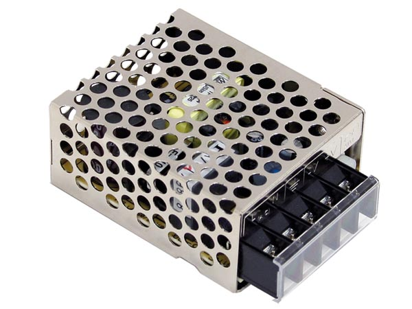 MEAN WELL RS-15-24 SCHAKELENDE VOEDING VOOR IT-APPARATUUR - 1 UITGANG - 15 W - 24 V - GESLOTEN CHASSIS