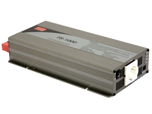 MEAN WELL TS-1000-212B MEAN WELL - DC-AC INVERTER MET ZUIVERE SINUSGOLF  - 1000 W - DUITS STOPCONTACT