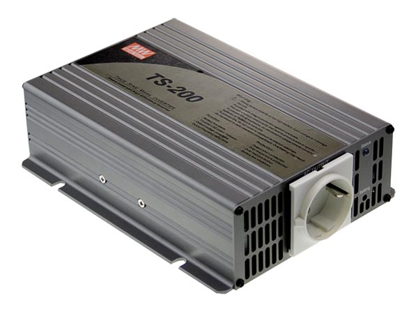 MEAN WELL TS-200-212B MEAN WELL - DC-AC INVERTER MET ZUIVERE SINUSGOLF  - 200 W - DUITS STOPCONTACT