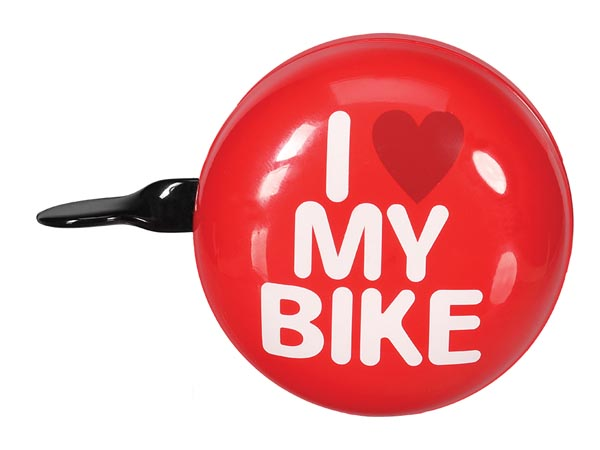 PEREL BR1 BICYCLE BELL - 'I LOVE MY BIKE' - Ø 8 cm - RED