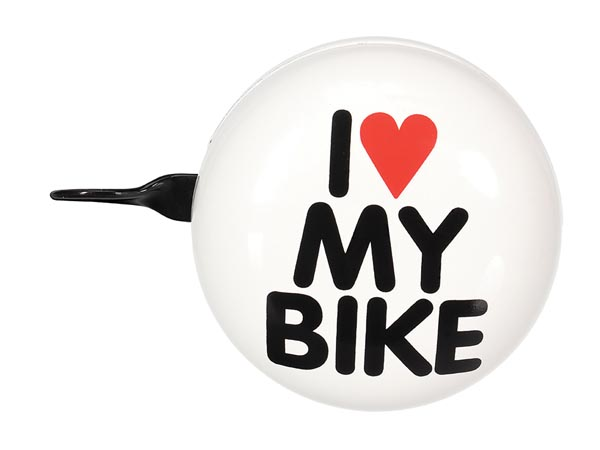 PEREL BR3 FIETSBEL - 'I LOVE MY BIKE' - Ø 8 cm - WIT
