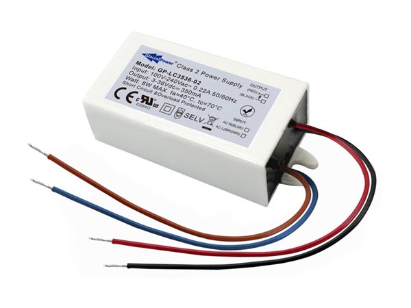 GLACIAL POWER GP-LC3536-02 SCHAKELENDE LED-VOEDING - 1 UITGANG - 8 W - 350 mA - 3 ~ 36 VDC - CONSTANTE STROOM