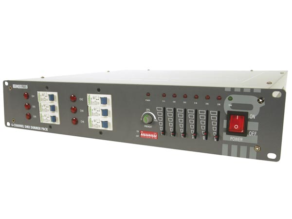 HQ-POWER VDPDP134 6-KANAALS DMX DIMMERPACK (6 x 10A)