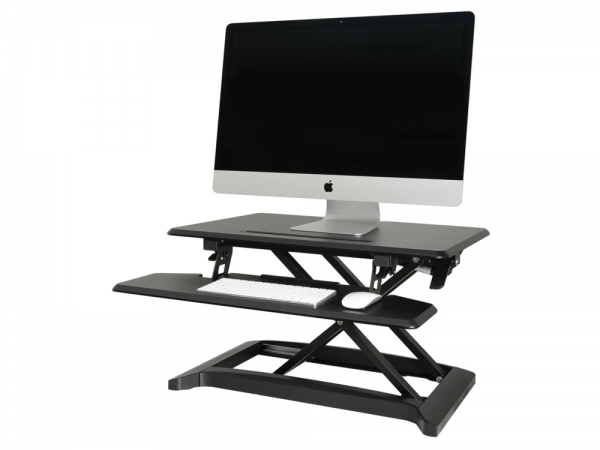 AV:Link Sit-Stand hydrolisch desktop workstation met keyboard plateau